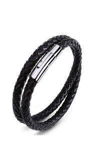 Silver & Black Leather Wrap Bracelet