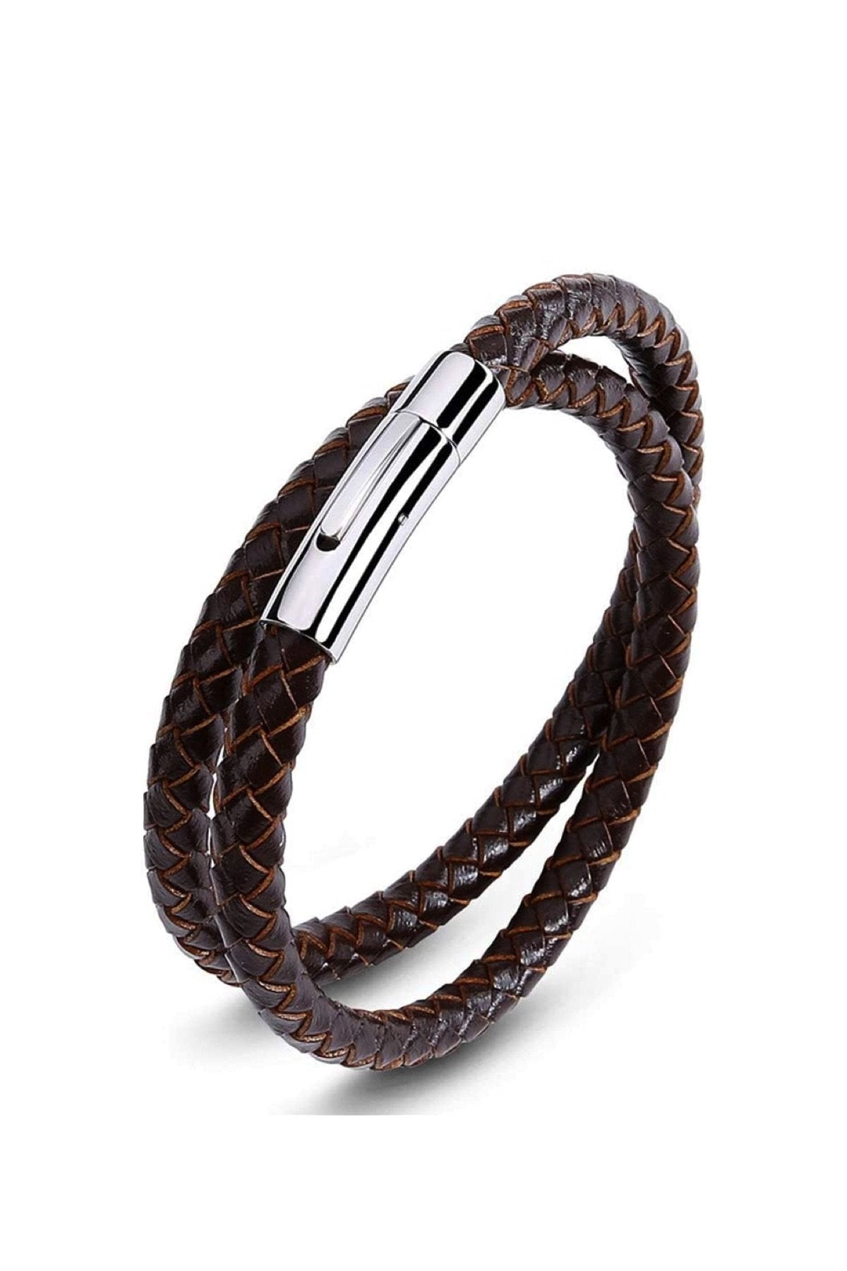 Silver & Brown Leather Wrap Bracelet