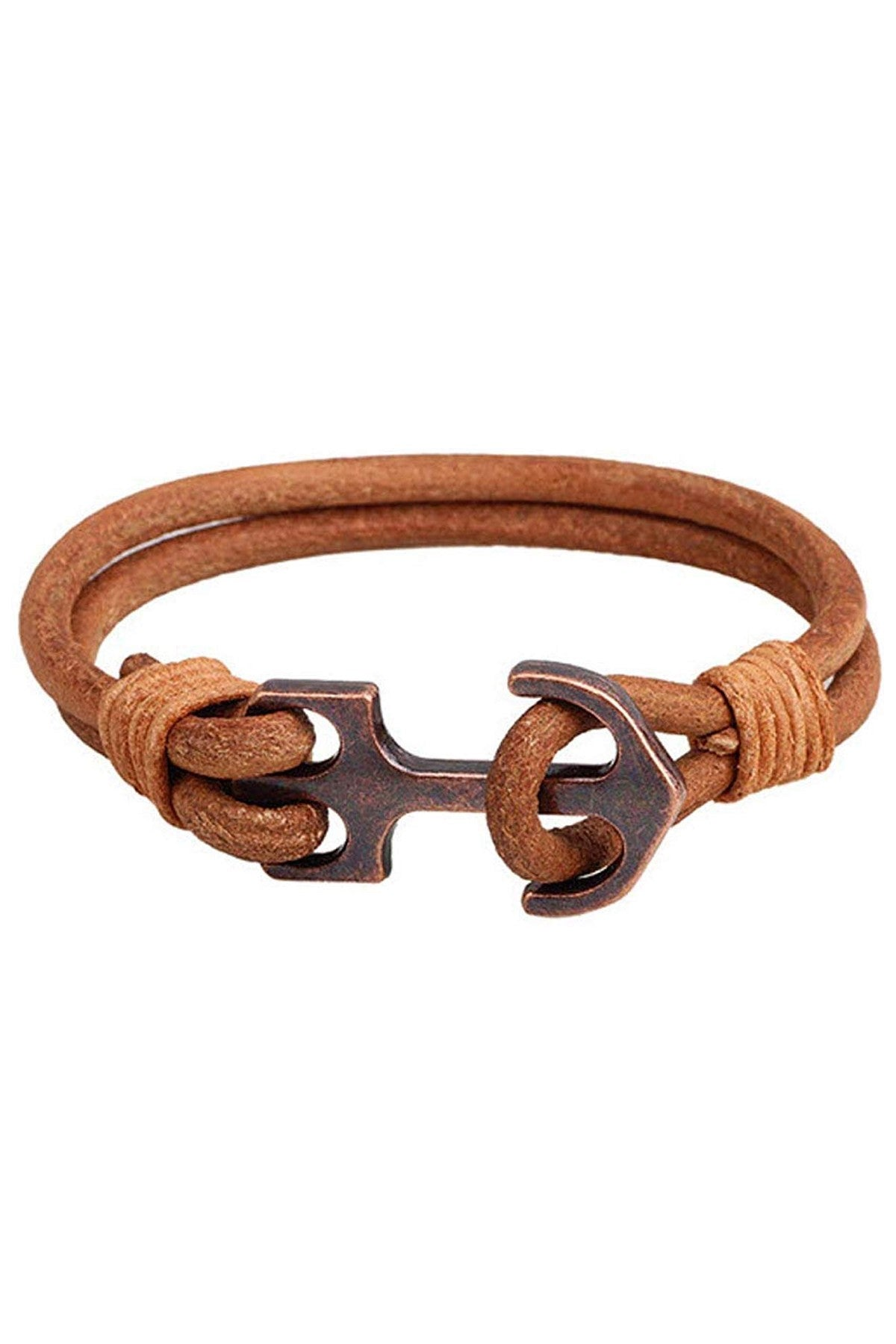 Rustic Tan Leather Anchor Bracelet
