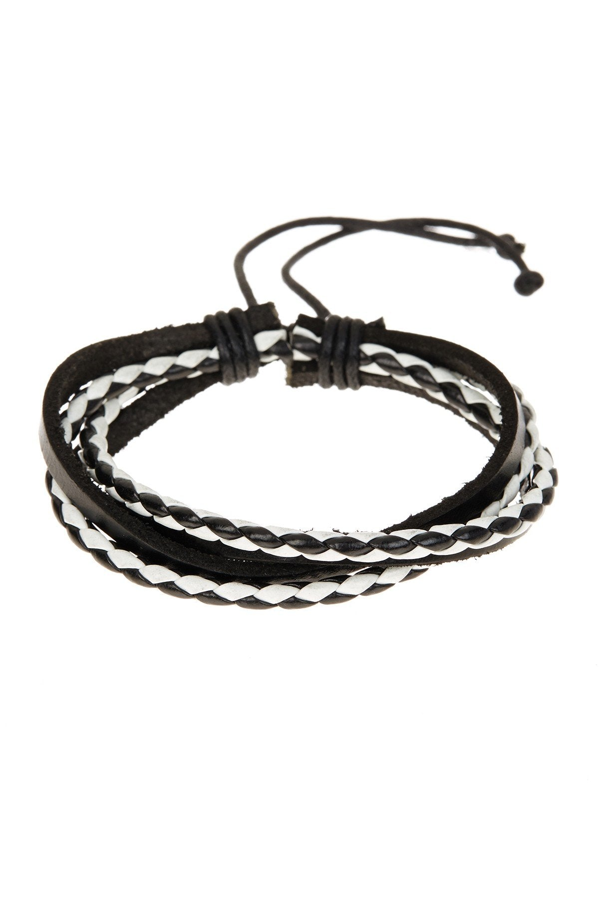 Black & White Adjustable Leather Bracelet