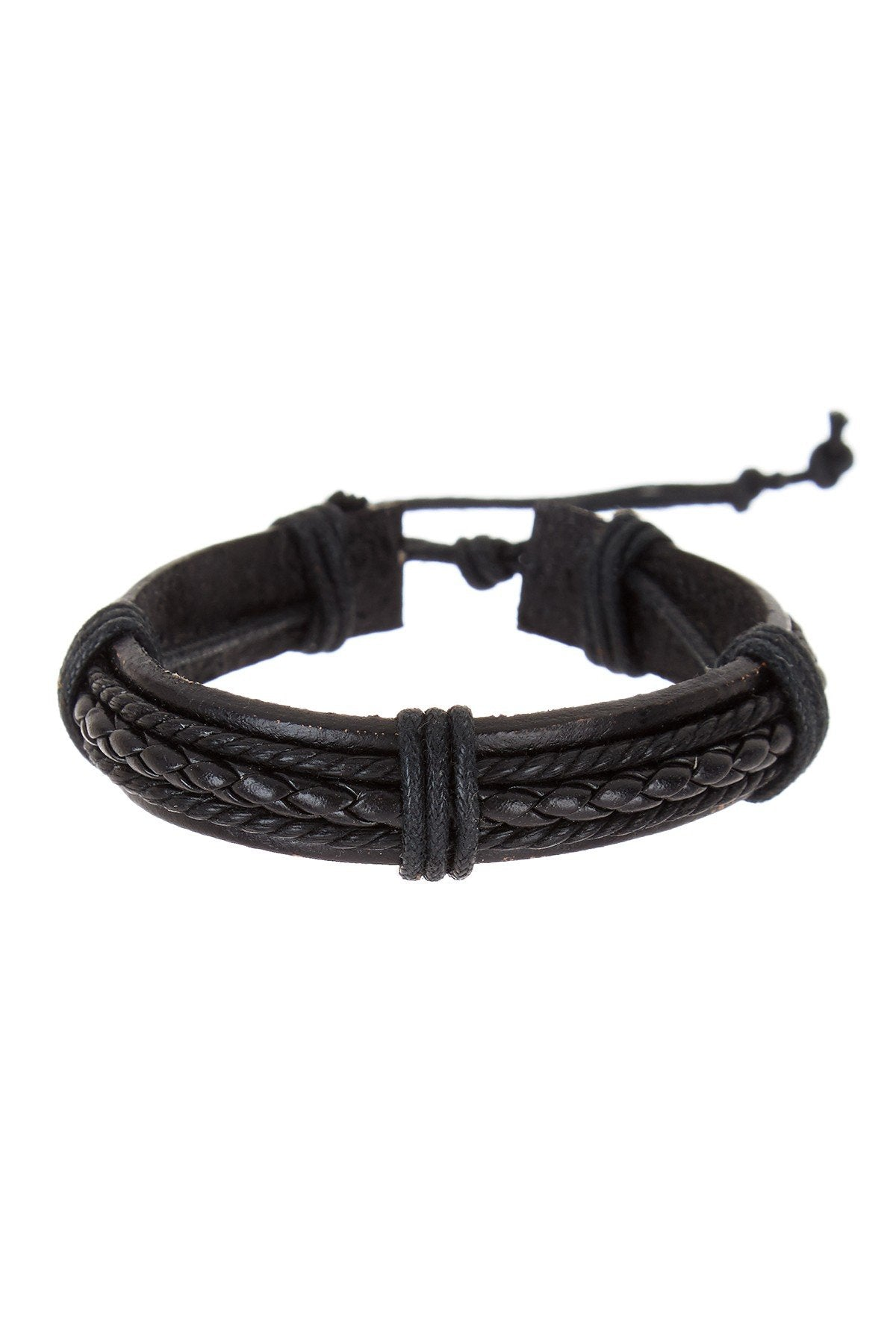 Black Woven Adjustable Leather Bracelet
