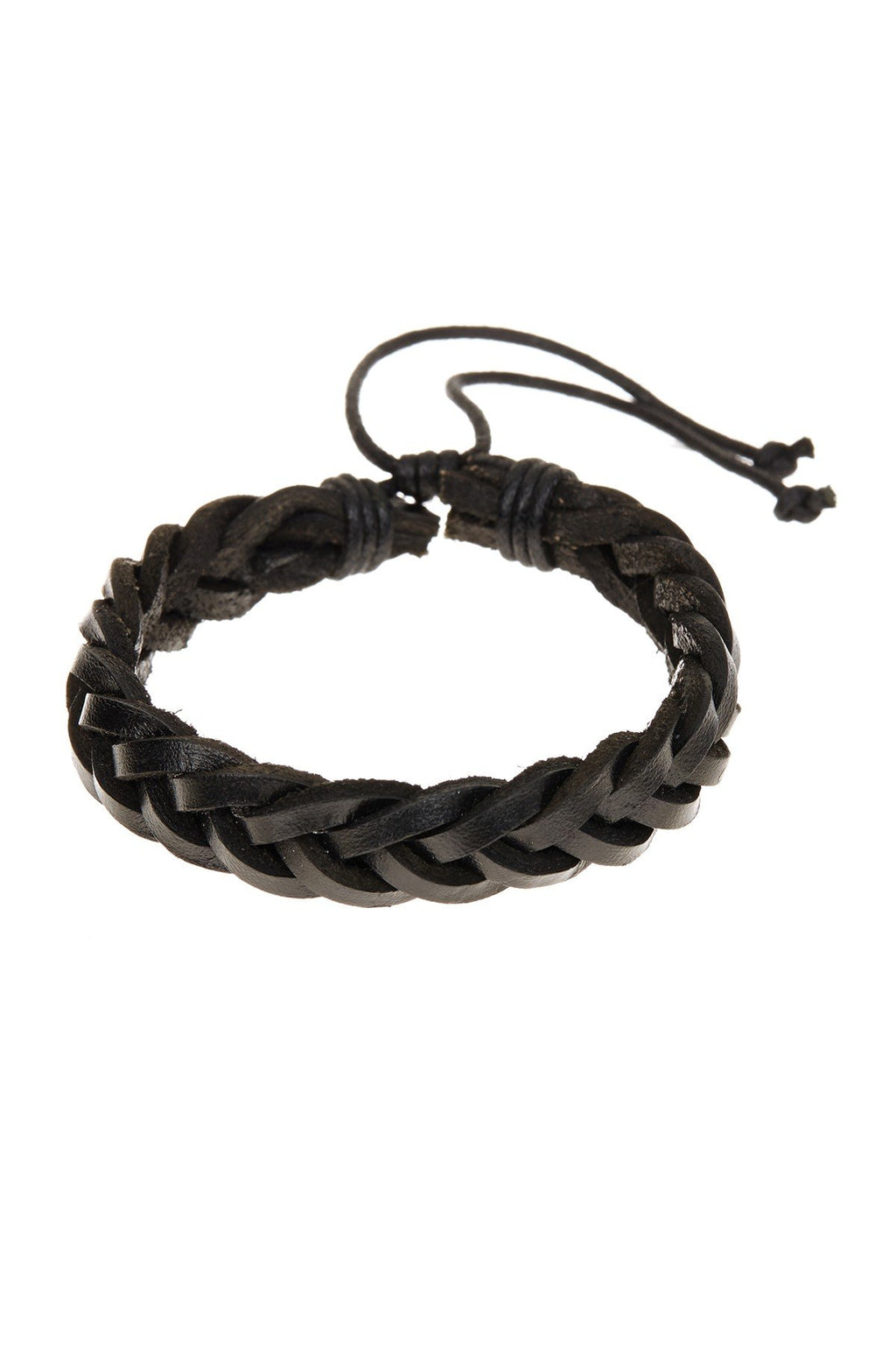 Black Woven Leather Adjustable Bracelet