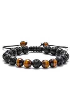 Black Lava & Tiger Eye Adjustable Bracelet