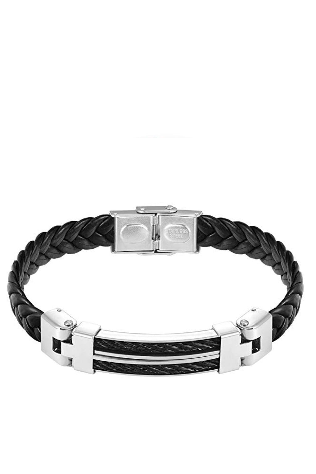 Silver Black Leather Two Tone Bracelet