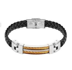 18k Gold Black Leather & Silver Two Tone Bracelet