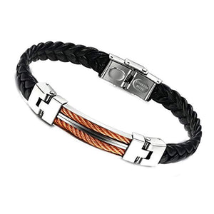 18k Rose Gold Black Leather & Silver Two Tone Bracelet
