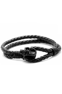 Black Skull Leather Bracelet