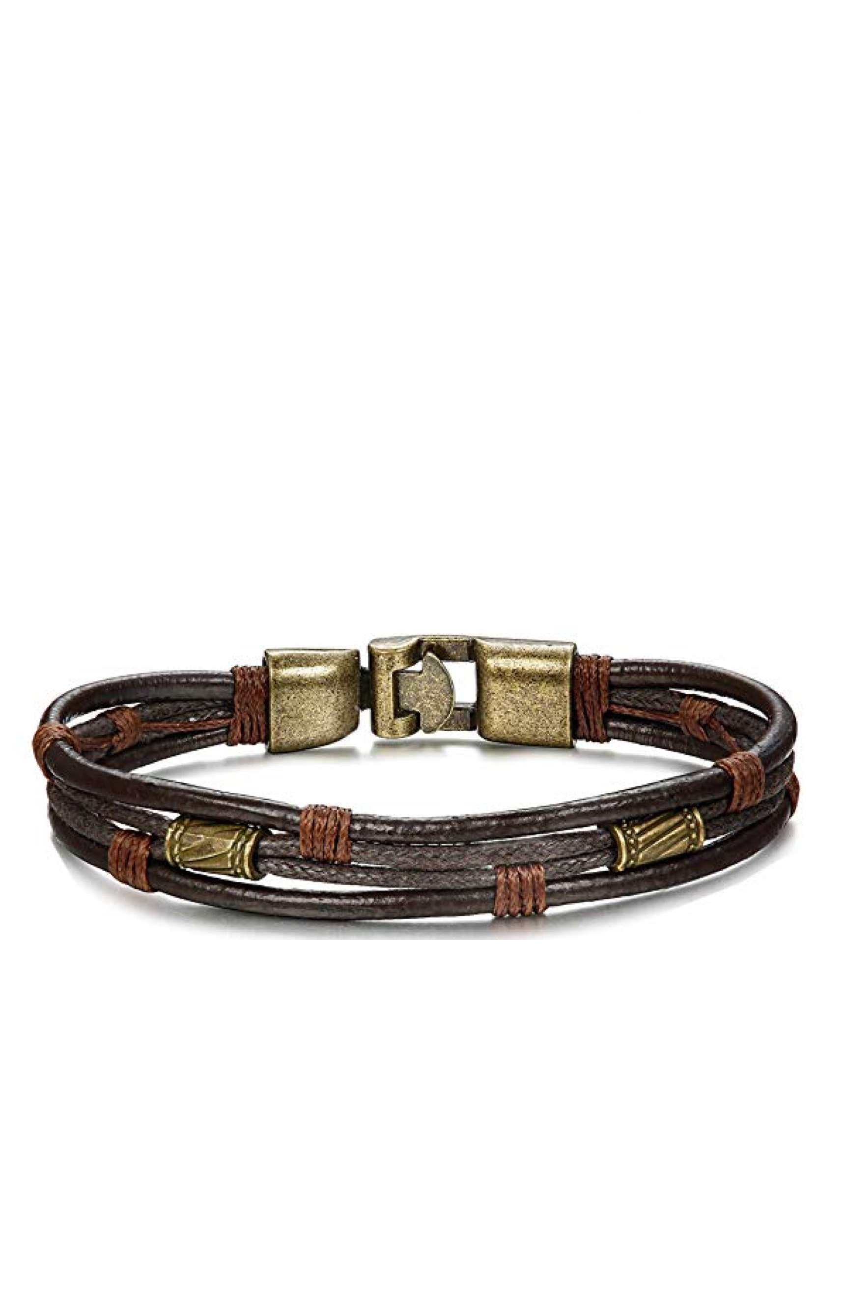 Gold & Brown Leather Bracelet