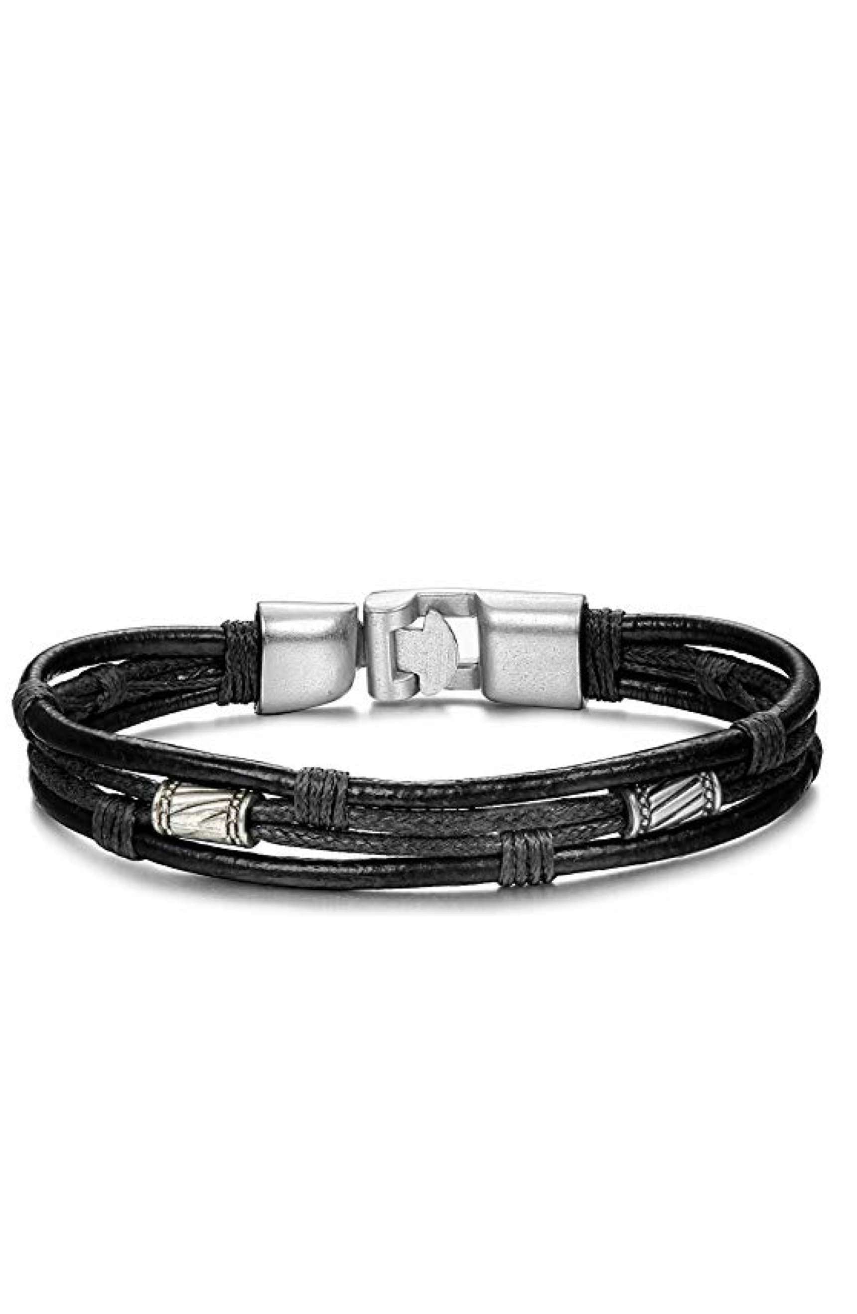 Silver & Black Leather Bracelet