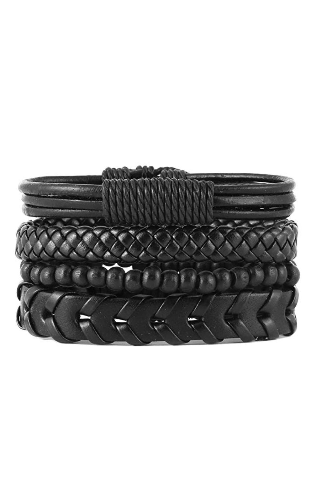 Set of 4 Black Leather Woven Bracelets