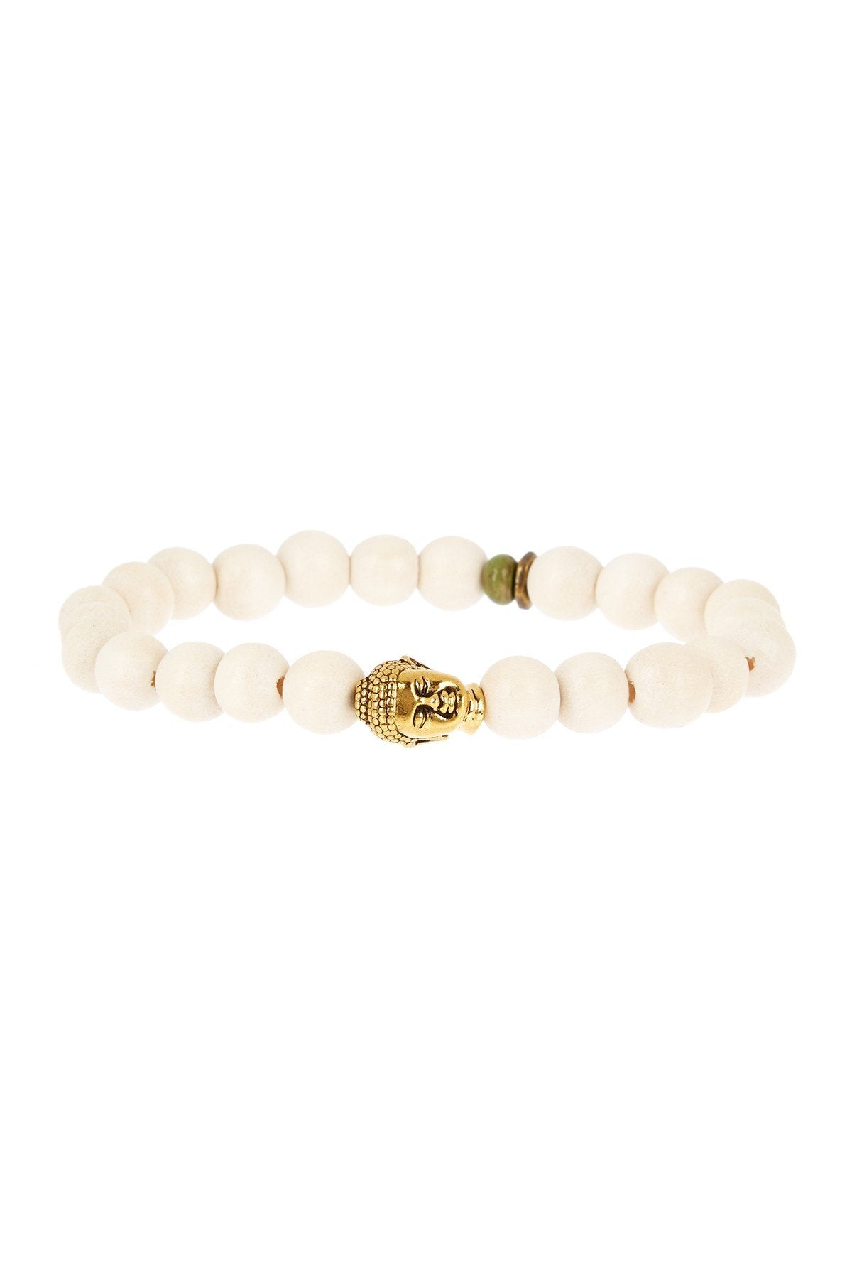 White Bead Buddha Bracelet in Gold