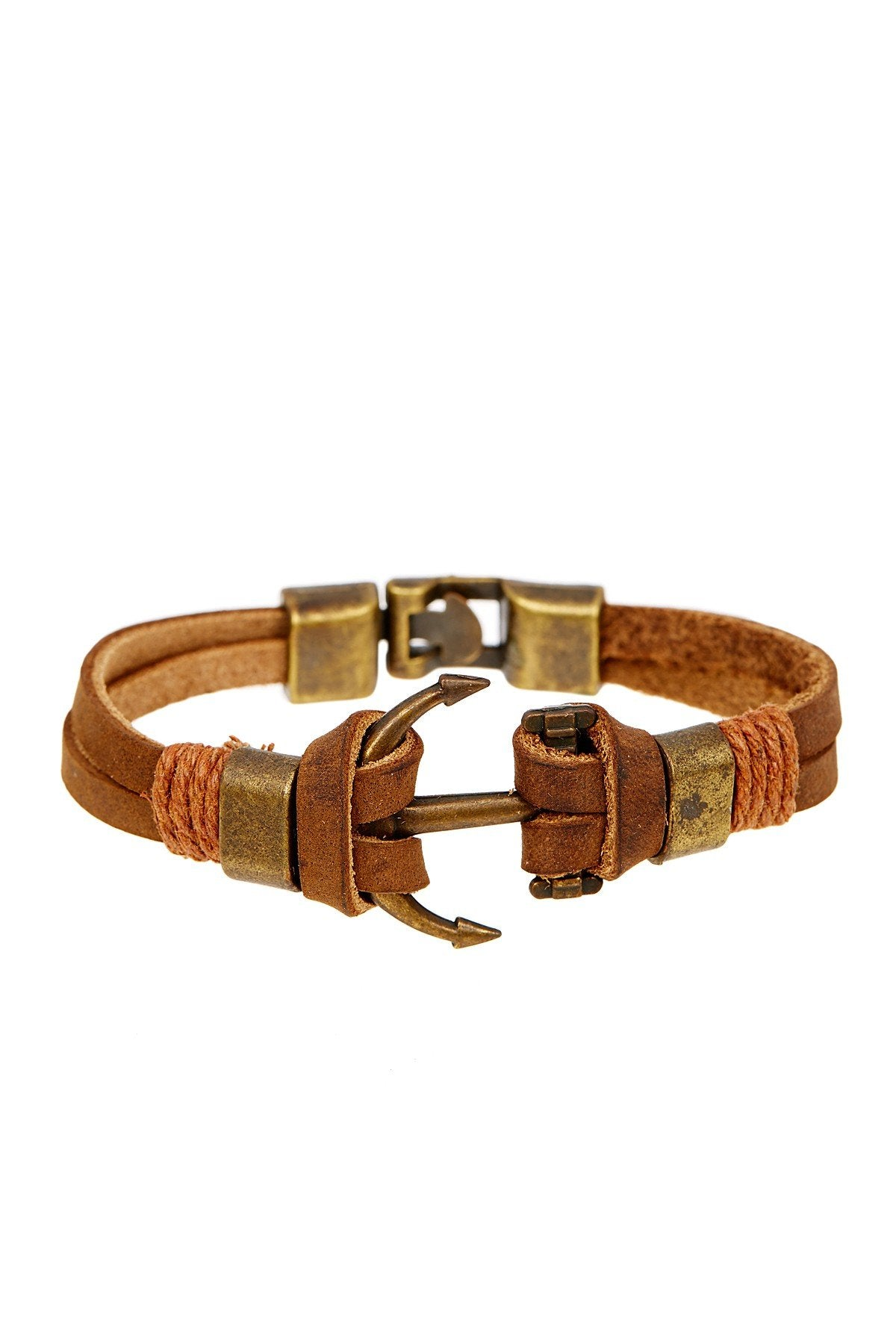 Brown Leather Oxidized Gold Rustic Bracelet