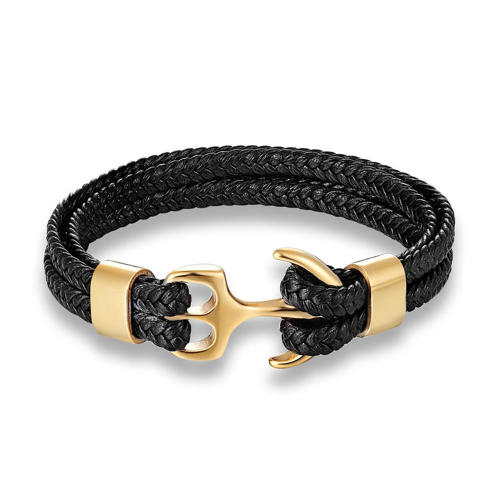 18K Gold Multi Row Black Leather Anchor Bracelet