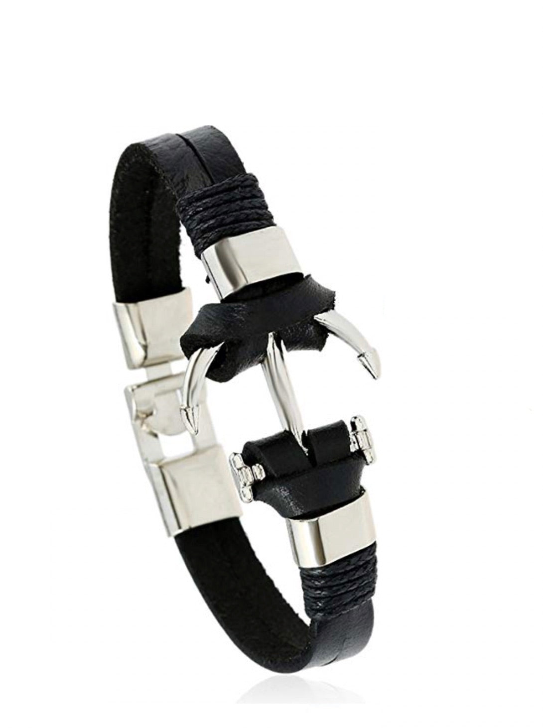 Silver Anchor Black Leather Bracelet