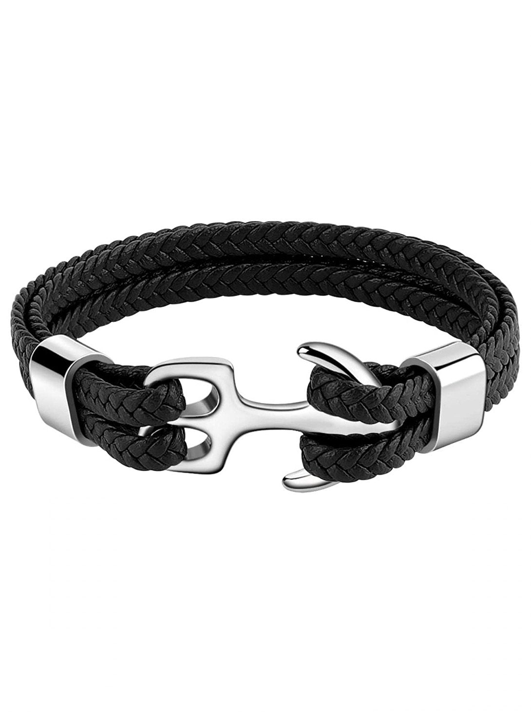 Silver Anchor Multi Starnd Black Leather Bracelet