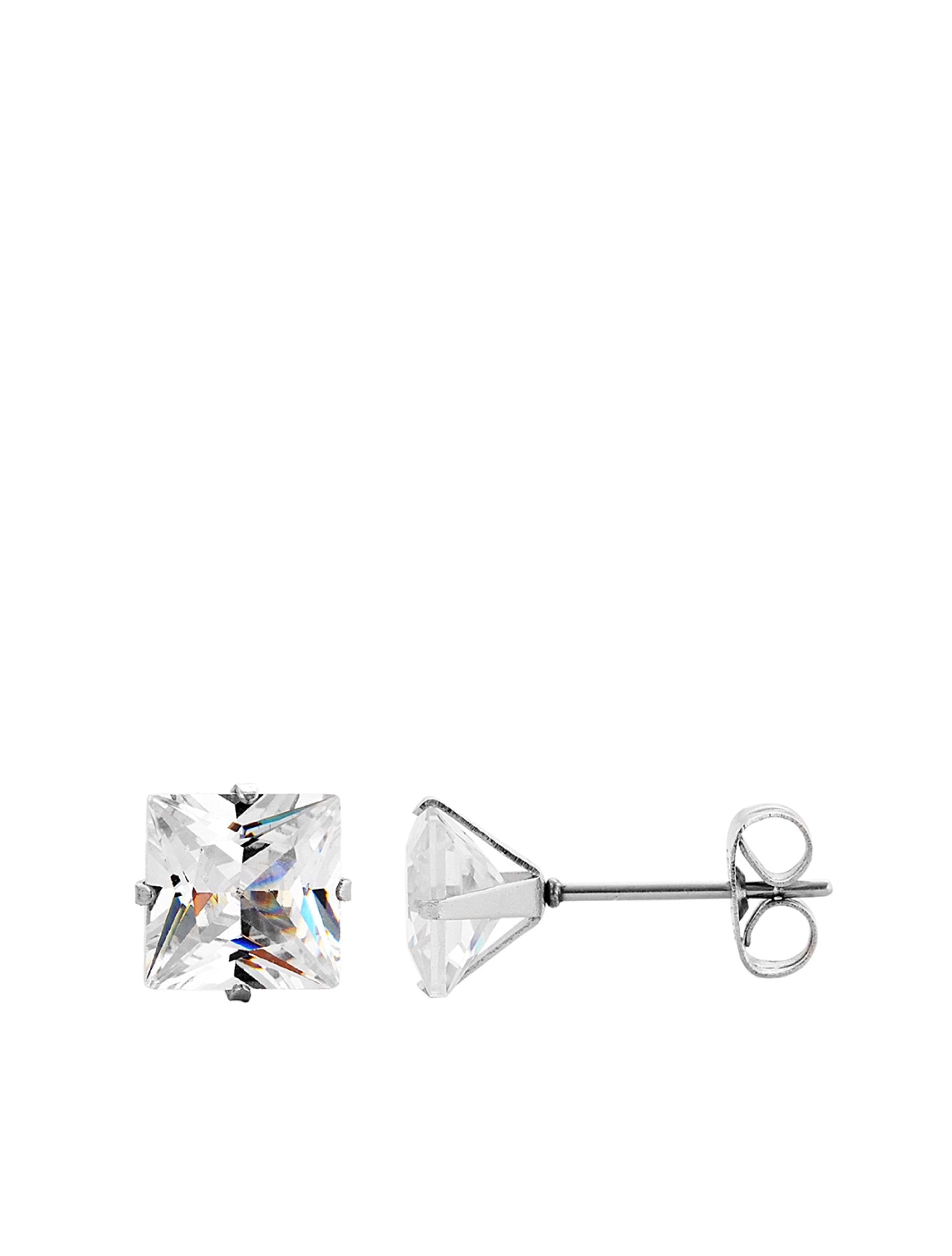 Silver Cz Square Stud Earrings