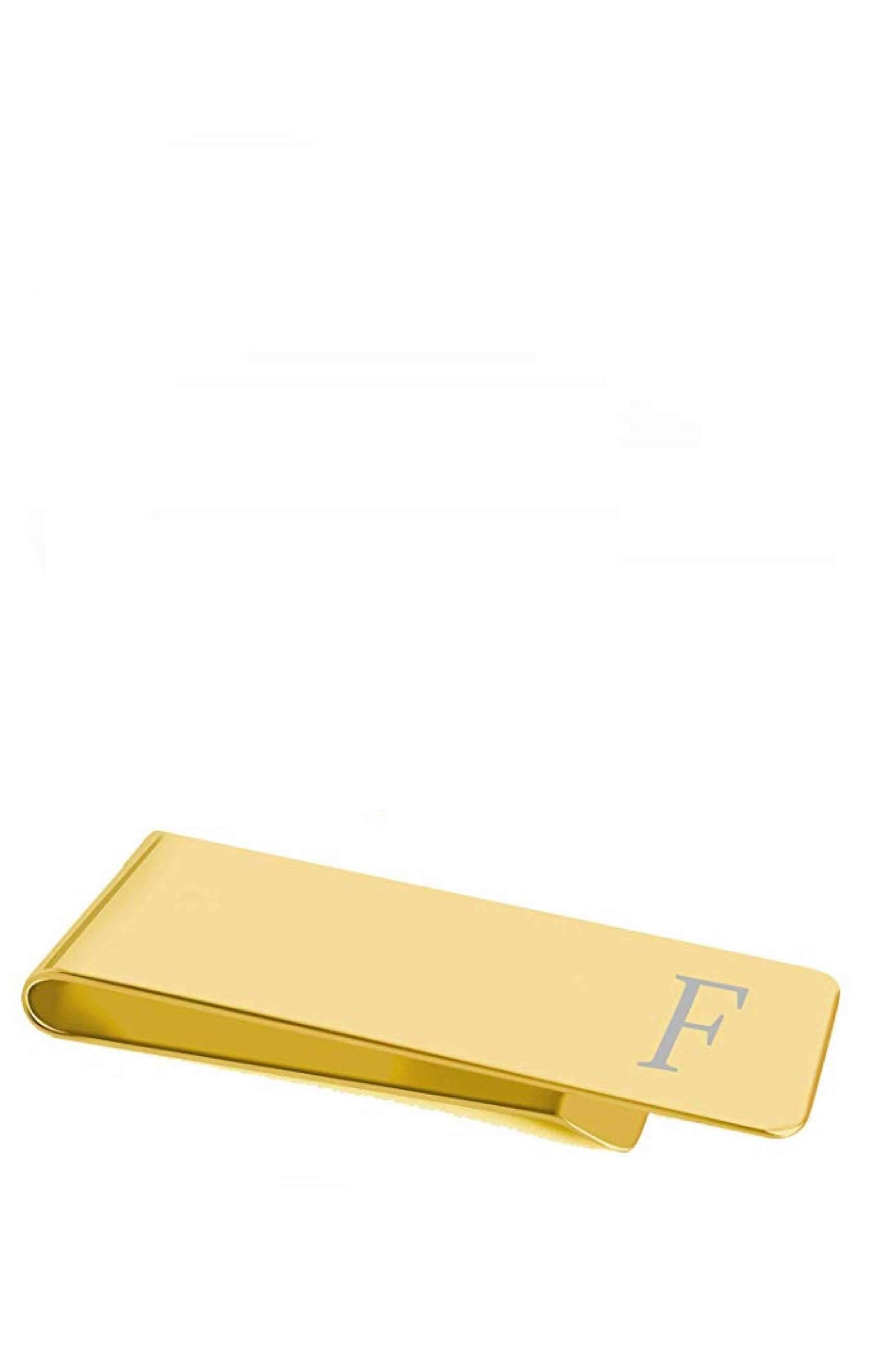 "18K Gold Initial ""F"" Money Clip"