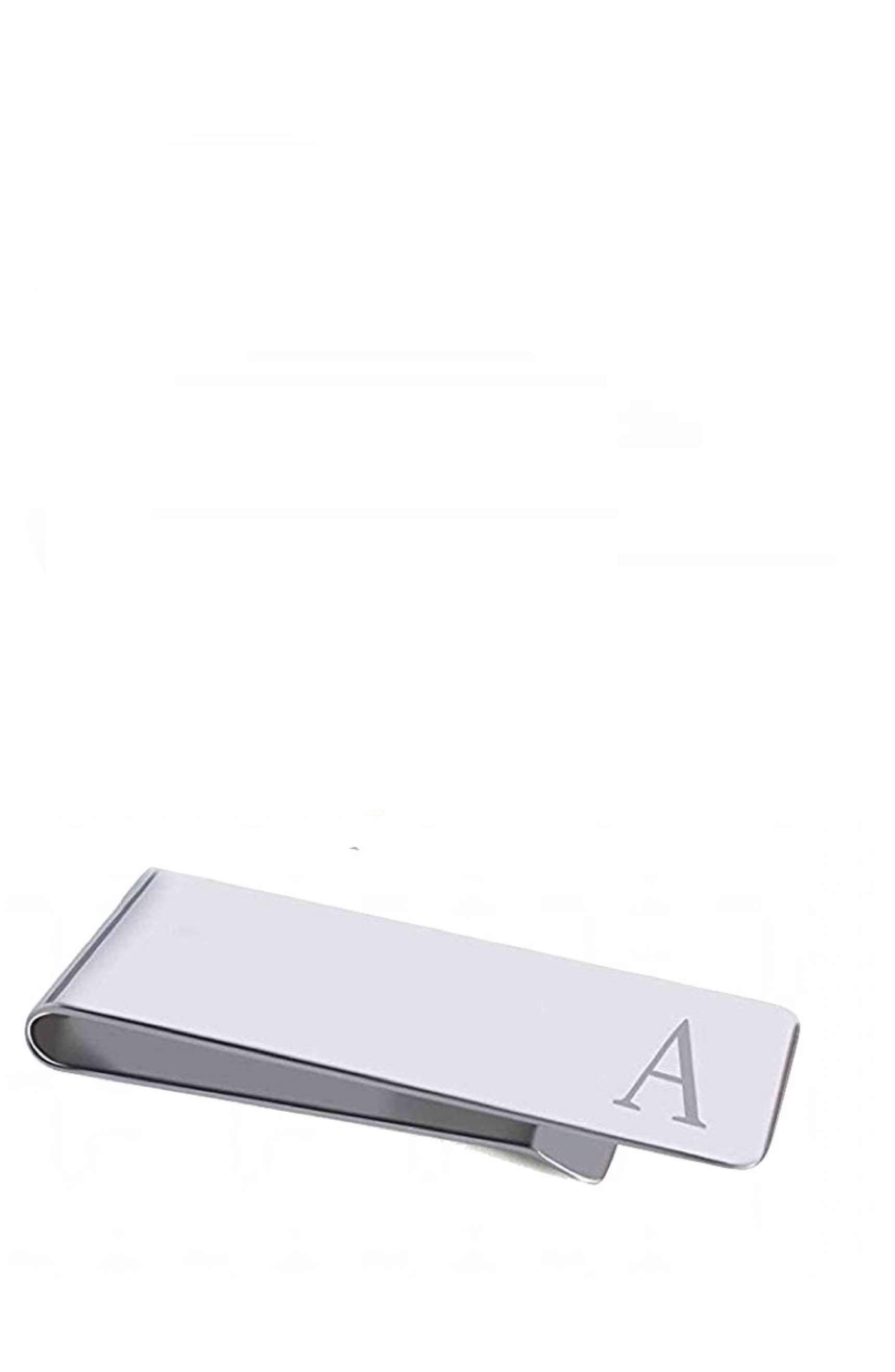 "Silver Initial ""A"" Money Clip"