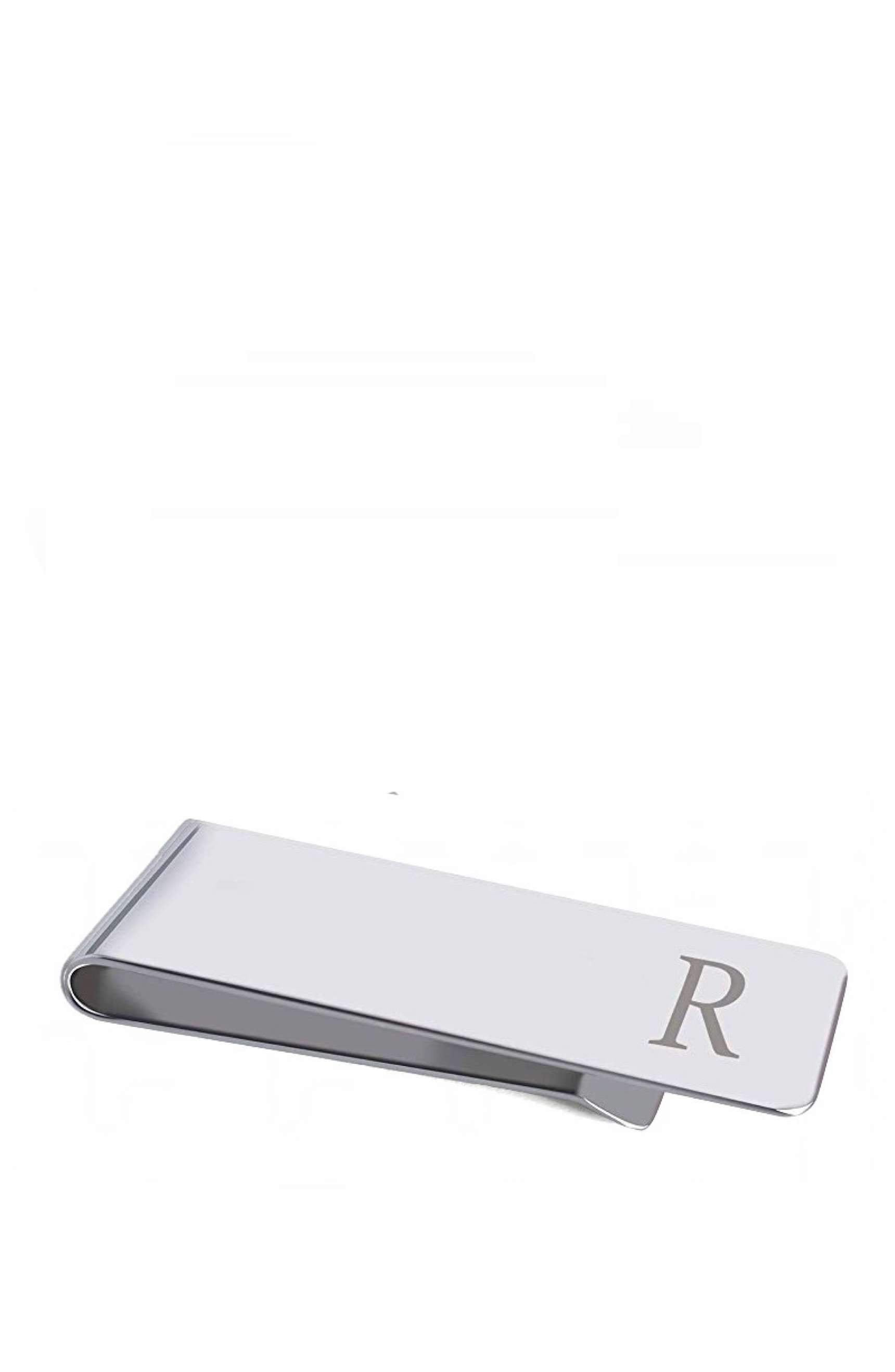 "Silver Initial ""R"" Money Clip"