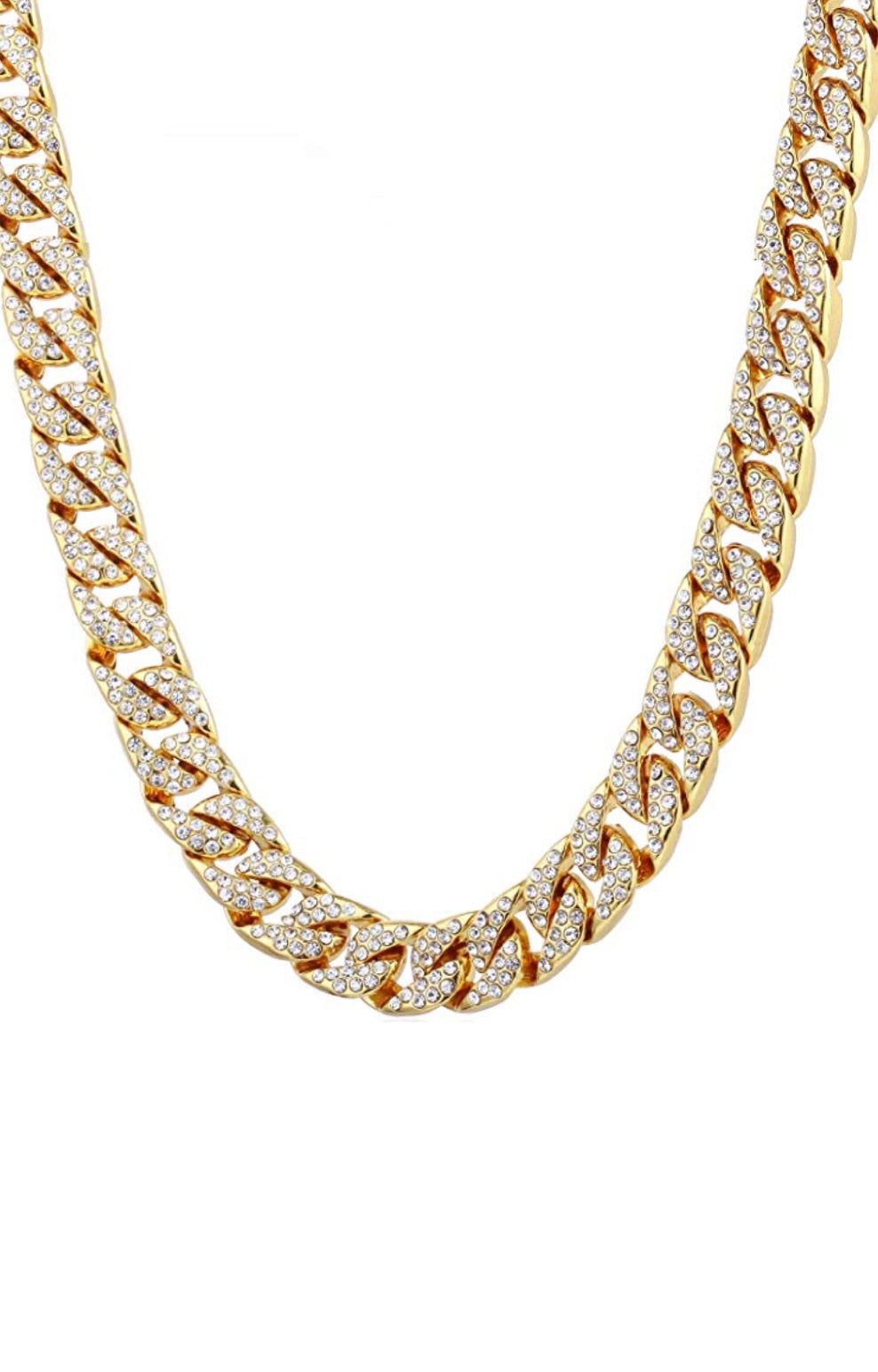18k Gold Cz Link Necklace
