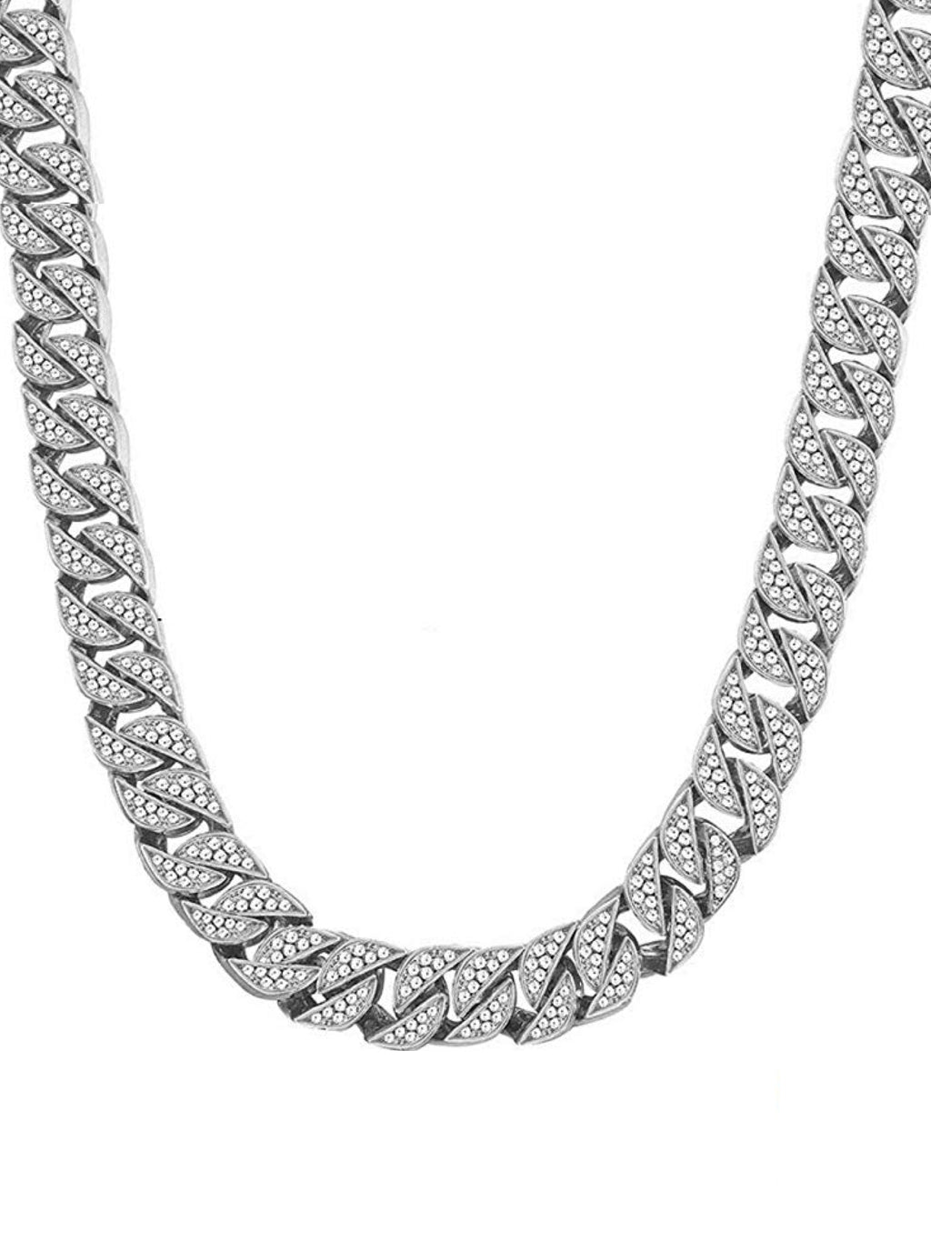 Silver Cz Link Necklace