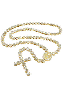 18K Gold Pave Cross Rosary