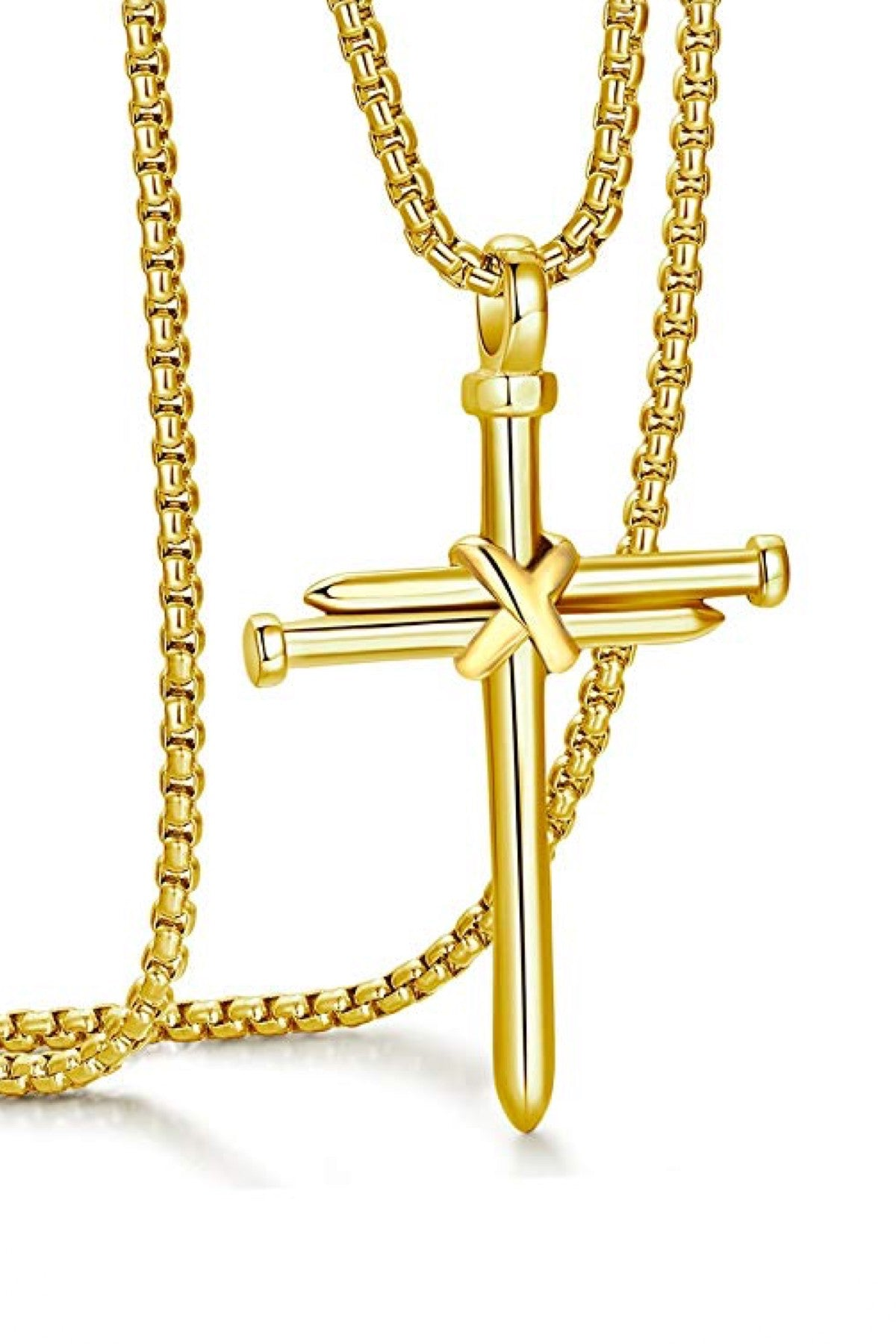 18k Gold Cross Nail Pendant Necklace