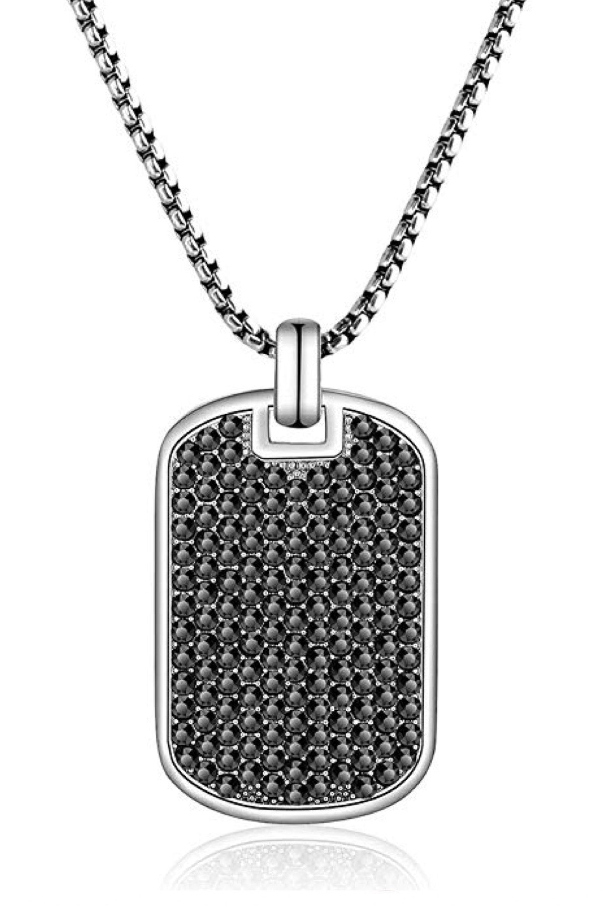 Silver & Black Cz Tag Necklace