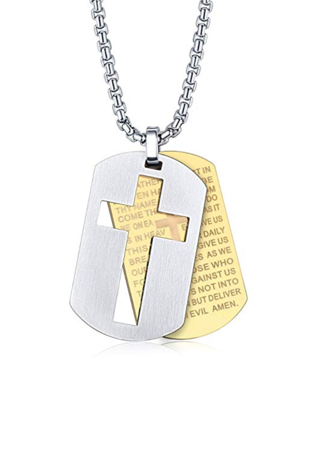 18k Gold & Silver Two Tone Cross Tag Necklace
