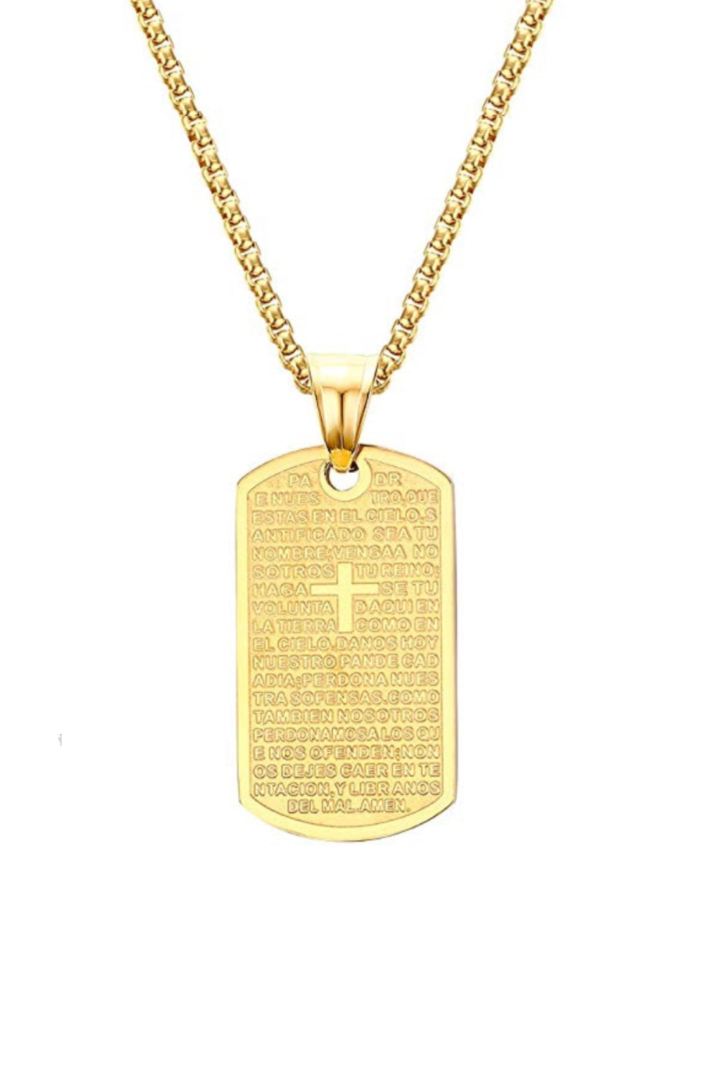 18k Gold Religious Cross Tag Necklace