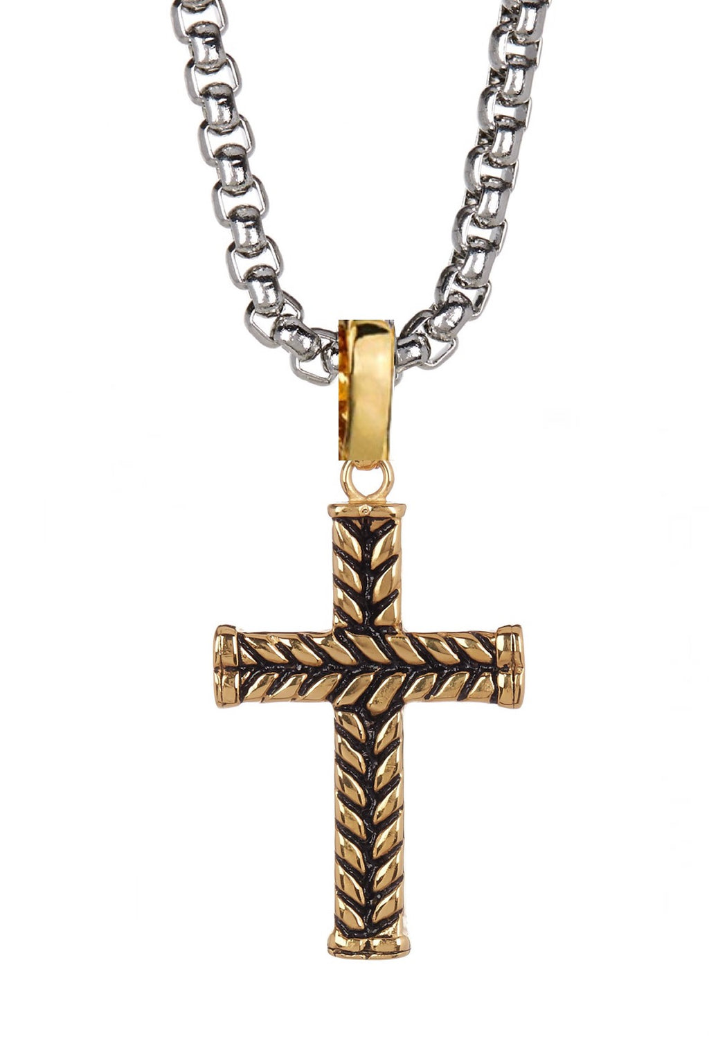 18k Gold & Silver two Tone Cross Necklace