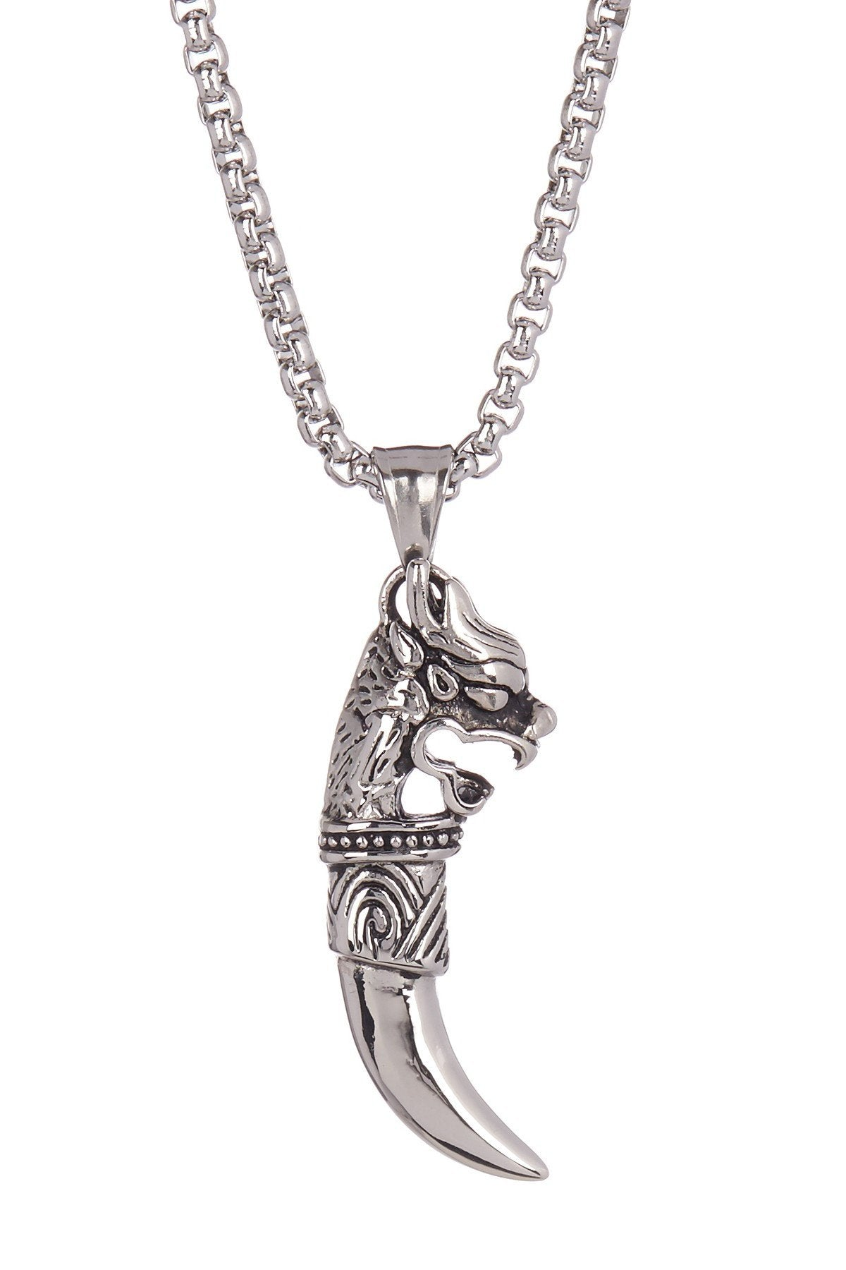 Carved Wolf Tooth Pendant Necklace in Silver