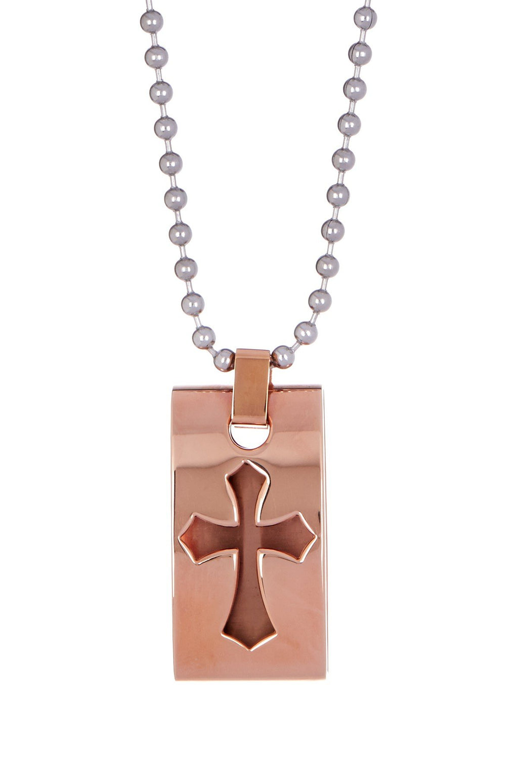 18k Rose Gold Cut-out Cross Tag Pendant Necklace
