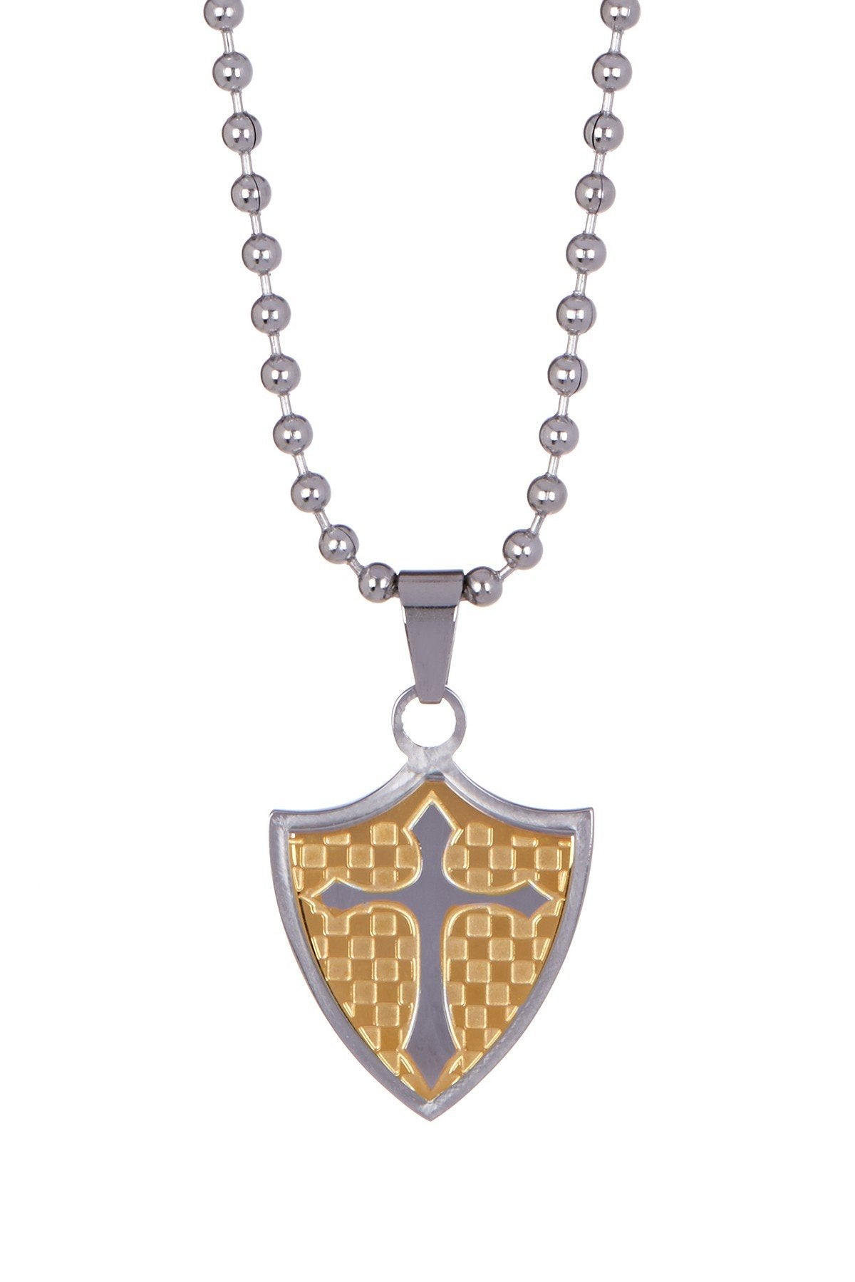 18k Gold Plated Two Tone Shield Necklace