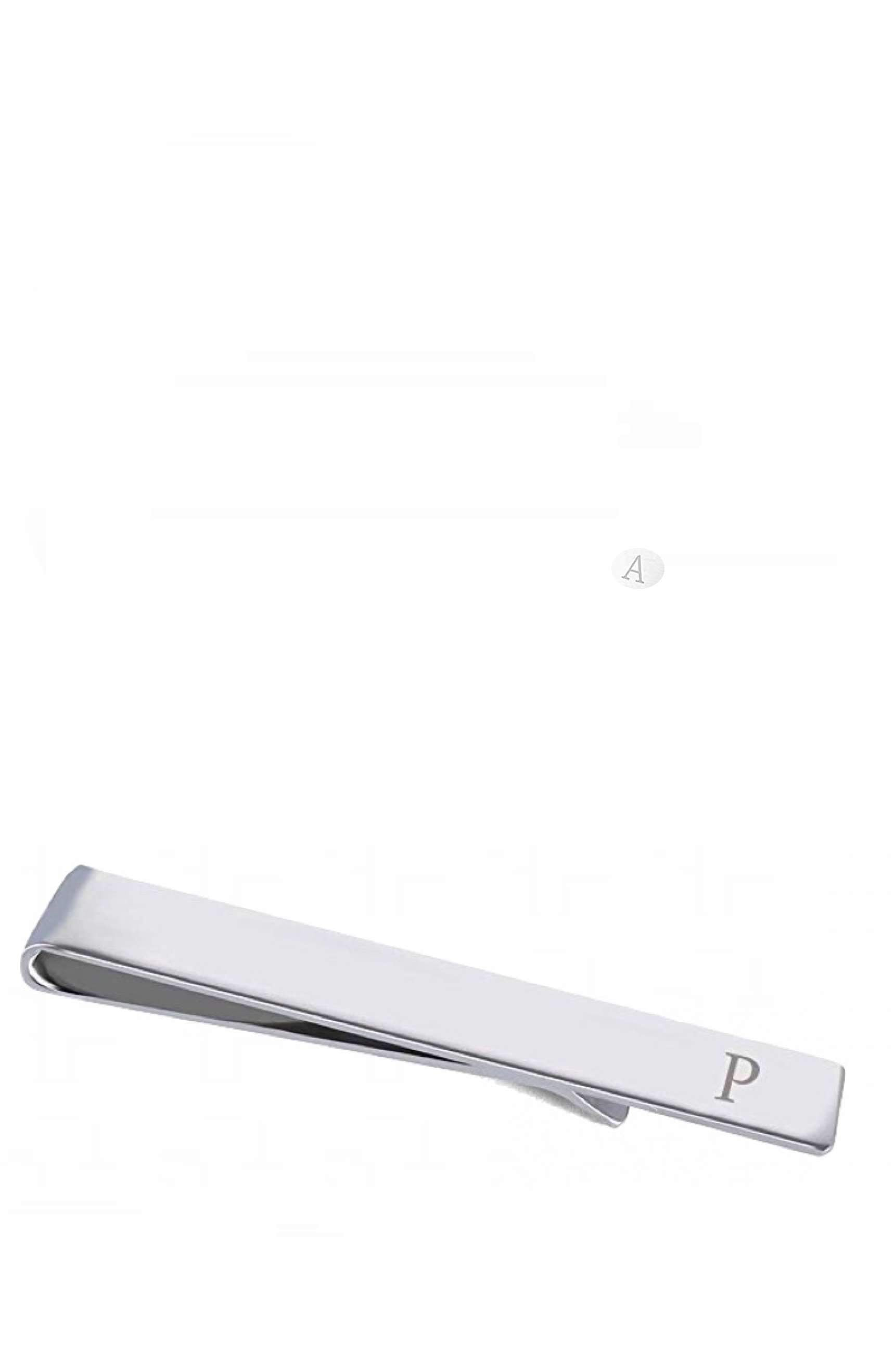 "Silver Initial ""P"" Tie Bar"