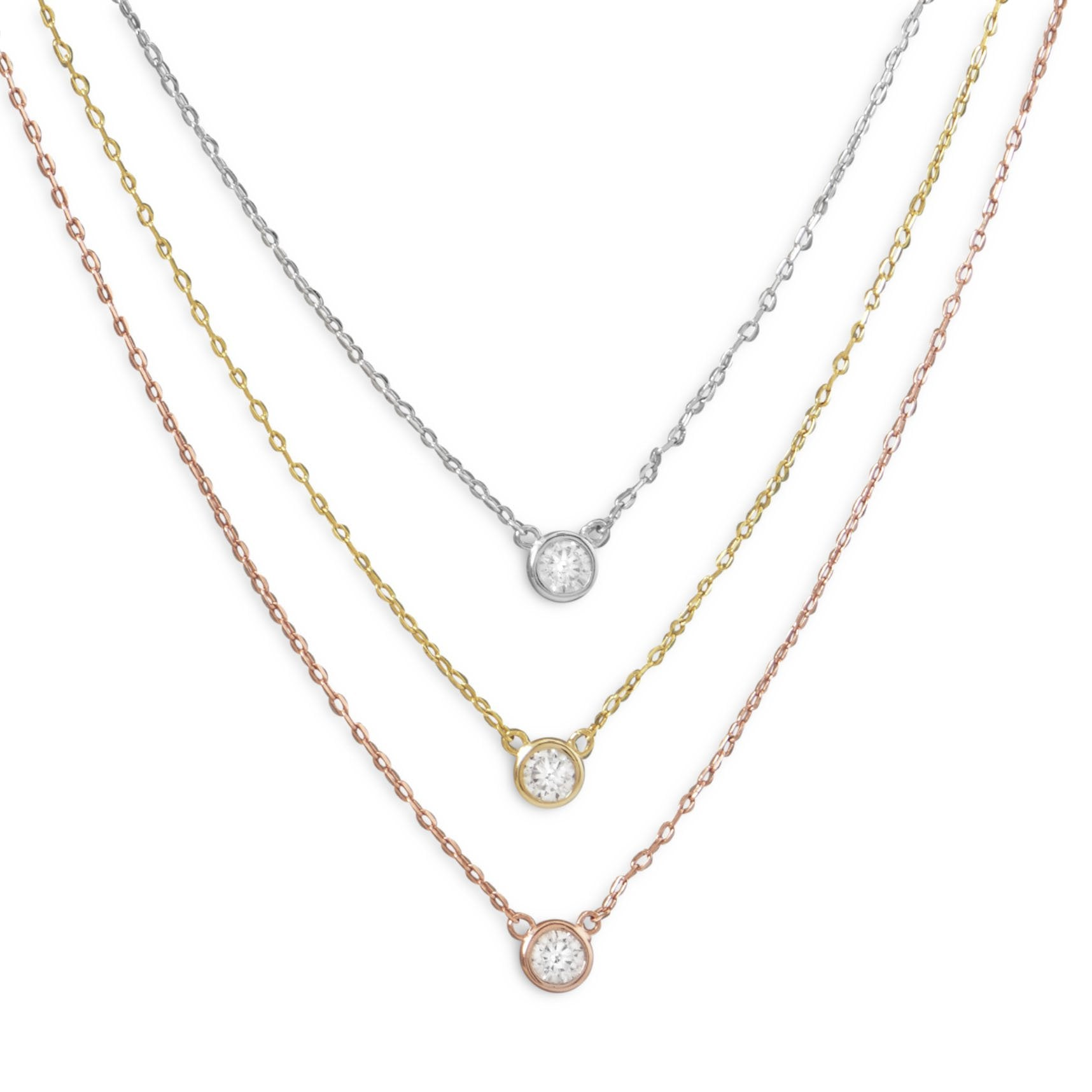 Tri Color Multi Layer Cz Necklace