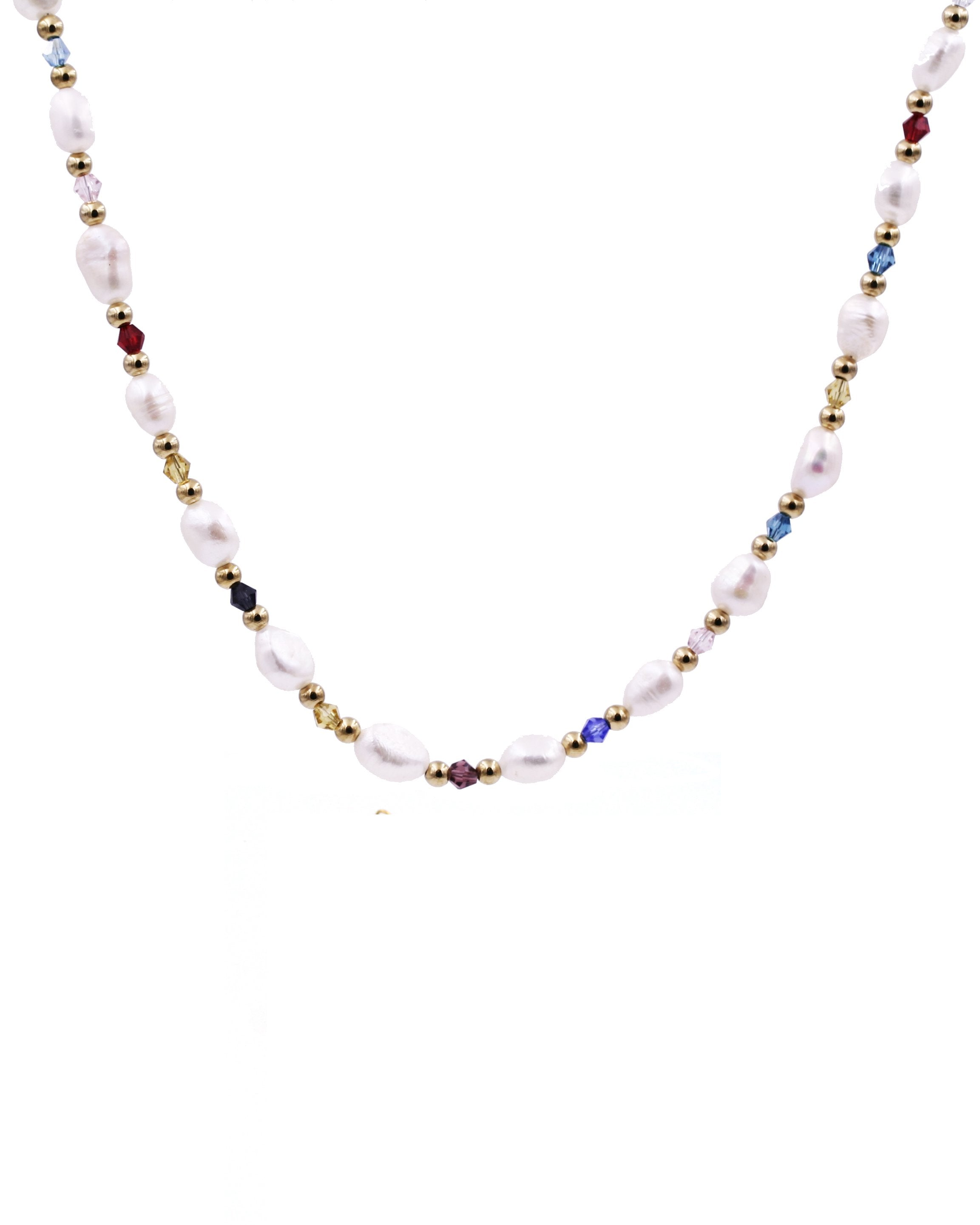 18K Gold Pearl & Multi Color Necklace