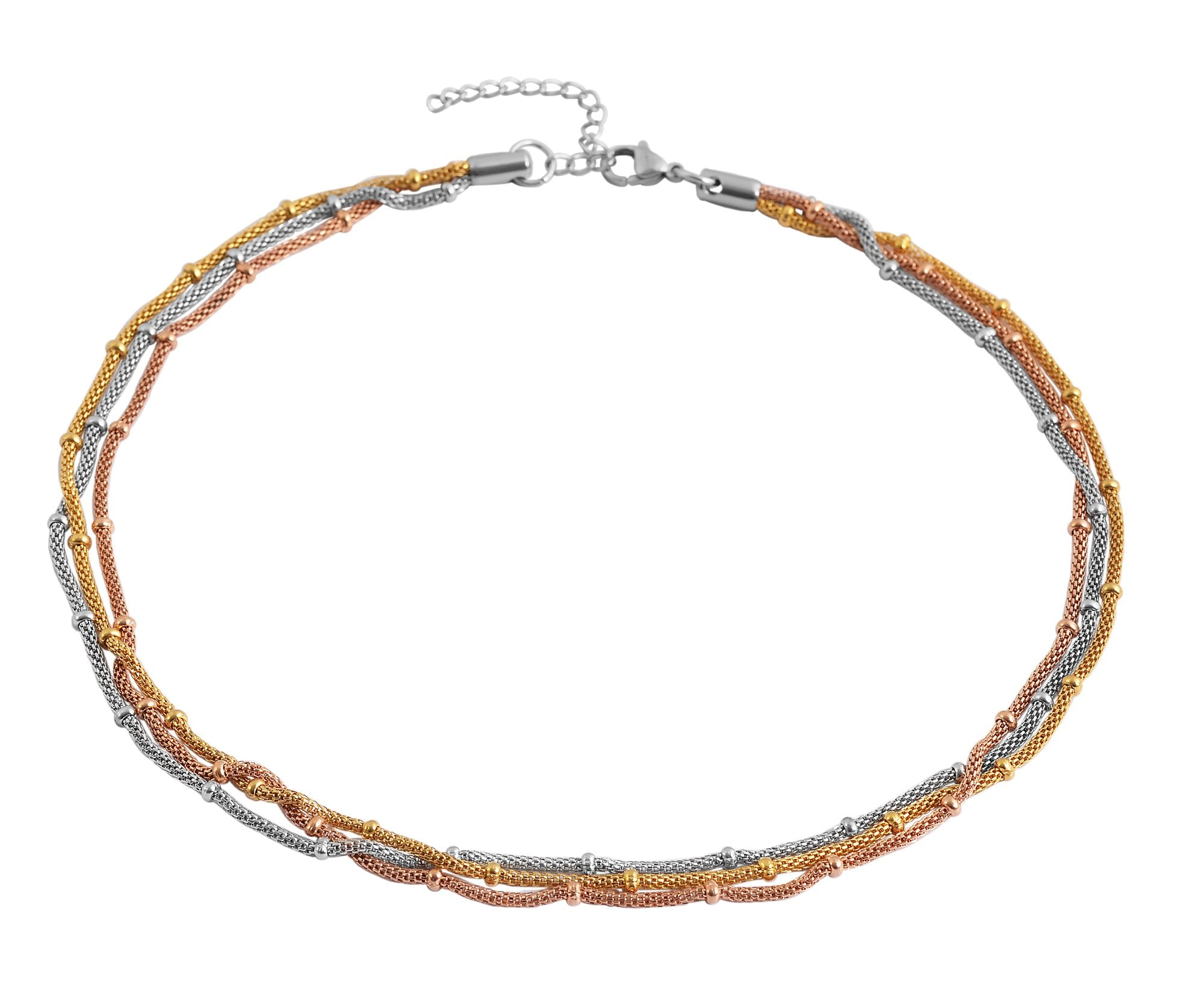 Tri Color Multi Row Mesh Necklace