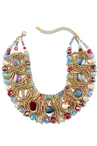 18K Gold Multi Color Statement Necklace