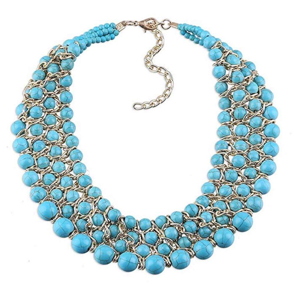 18K Gold Turquoise Statement Necklace