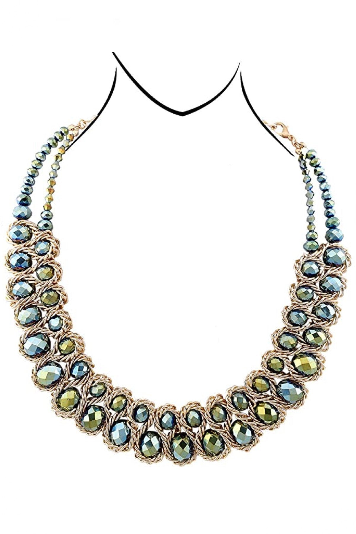 18K Gold Statement Multi Grey Crystal Necklace