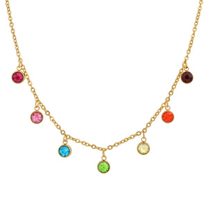 18K Gold Multi Gemstone Drape Necklace