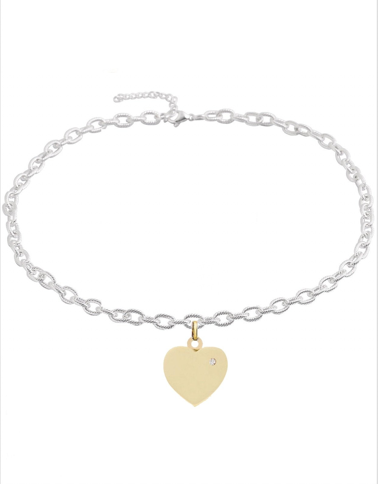 18K Gold & Silver Two Tone Heart Charm Necklace