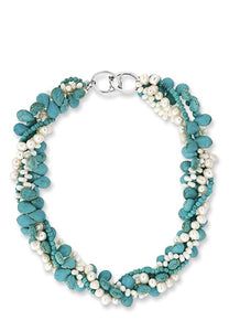 Turquoise & Pearl Twist Necklace