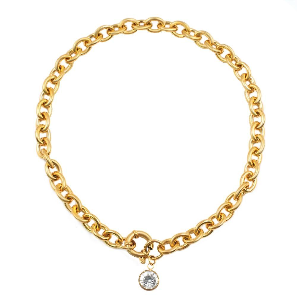 18K Gold Chunky Necklace with Cz Drop