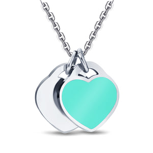 Silver & Turquoise heart charm Necklace