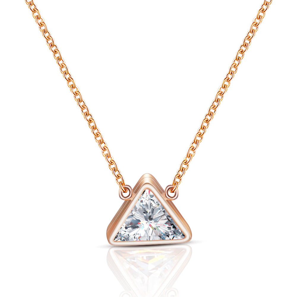 18k Rose Gold Trillion Cz Solitaire Necklace