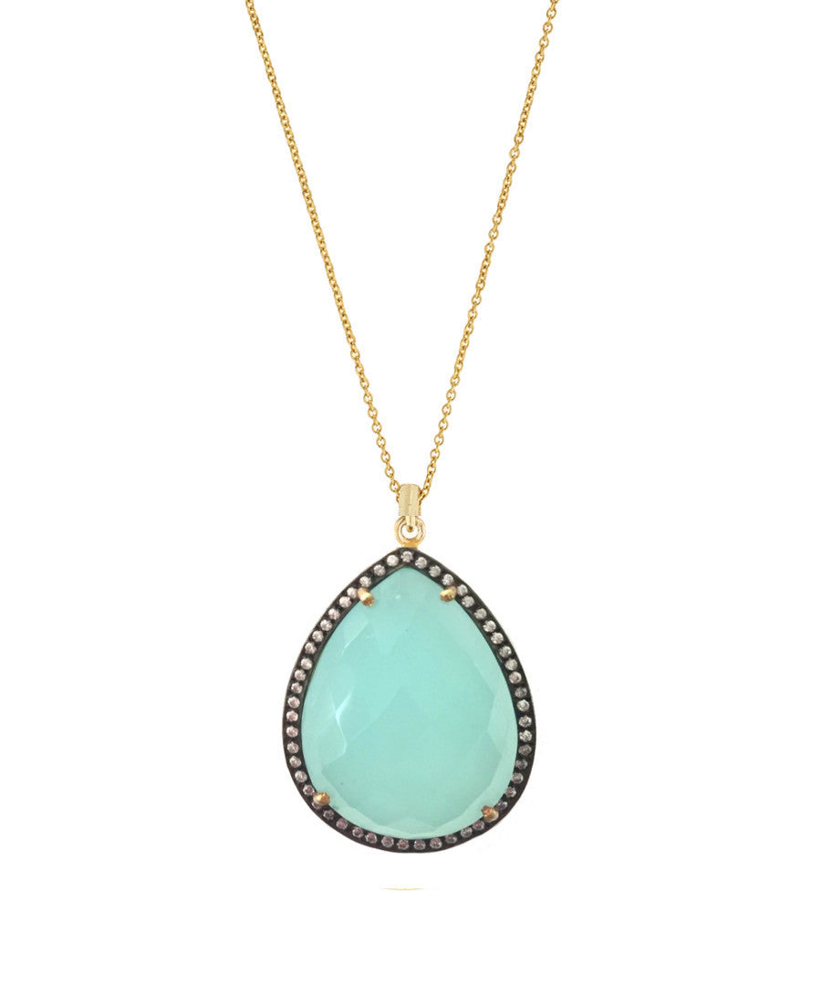 18k gold Chalcedony & Multi Diamond Pear Drop Necklace