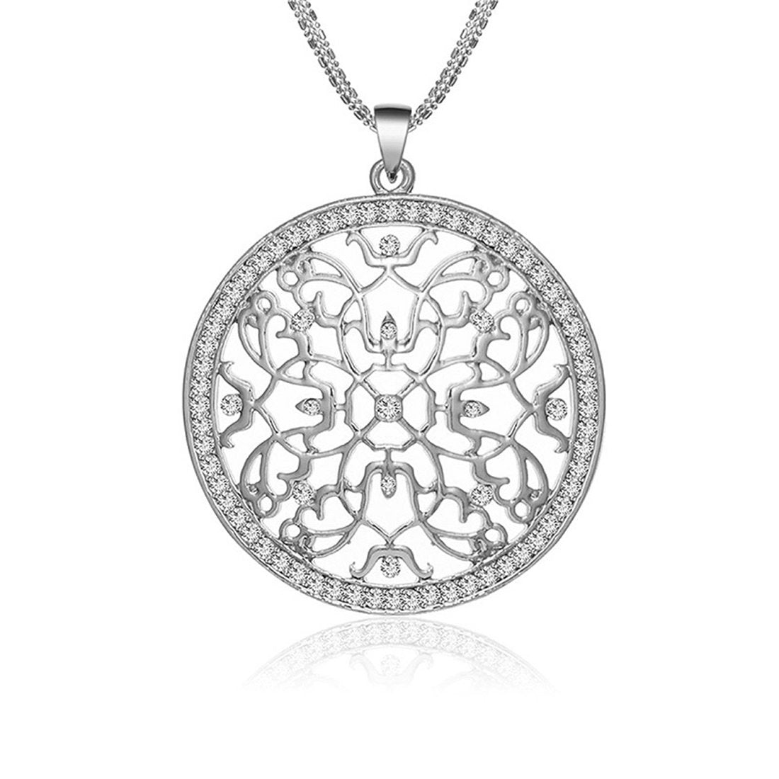 Silver Disc Crystal Multi Chain Statement Necklace
