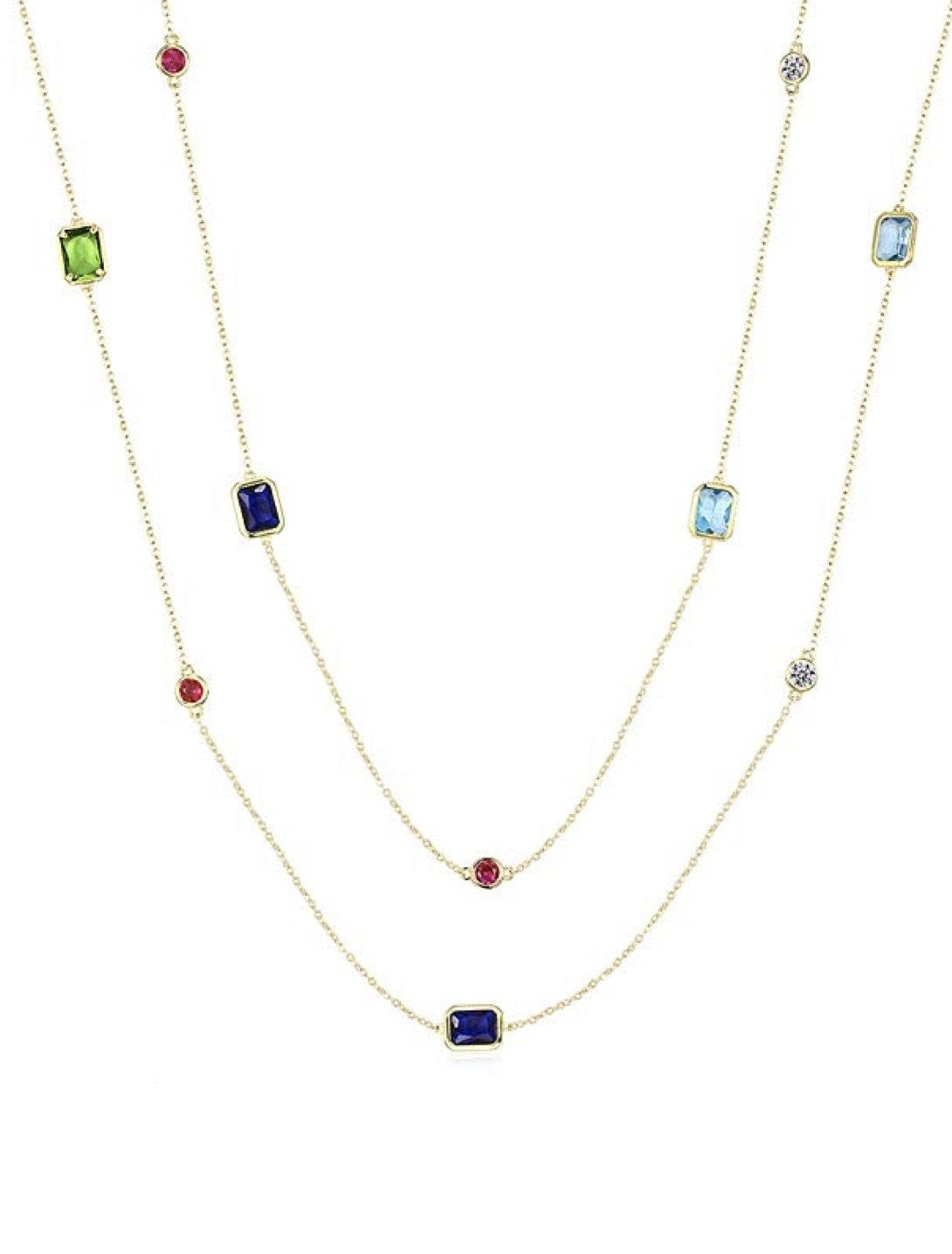 18K Gold Emerald Cut And Round Multi Color Long Necklace